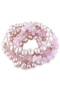 Michiko 6-9mm Pink Baroque Pearl & Rose Quartz Bracelet Set