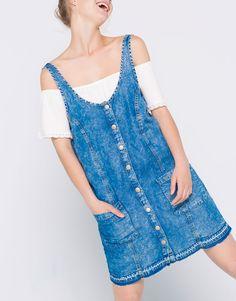 Pull&Bear - dames - popelin & denim - mouwloze denim jurk - blauw - 09390308-V2016