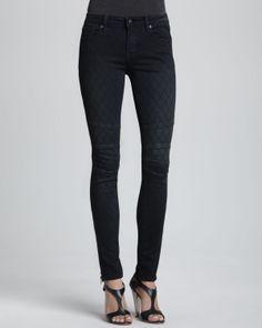 D-ID Denim Patterned Zipper-Cuff Skinny Jeans, Vintage Black - Neiman Marcus
