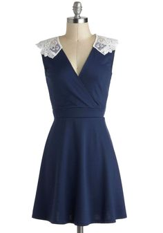Tea Time of Day Dress. Whether its brunch, lunch, or a late dinner youre dressing for, give it the tea party treatment with the white lace shoulders of this deep blue dress! Mod Dress, Sheer Dress, Dress Up, Navy Dress, Retro Vintage Dresses, Vintage Mode, Vintage Style, Day Dresses, Cute Dresses