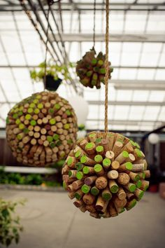 recycled wine cork pom poms - this is just plain cool! Art! (what accent color do you want?)