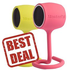 MasterPal Telego Speaker Pink  Lime Combo Value Pack Two Portable Mini Bluetooth Speakers Featuring Easytofix Tail Design Super Fun  Cute Value Pack ** Click image for more details.