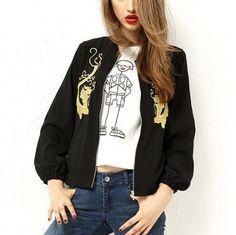 Dragon embroidered bomber jacket for lady black zip up jacket coat