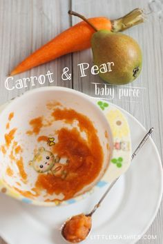 Baby food recipe Pear and Carrot puree from Little Mashies reusable food pouches. For free recipe ebook go to Little Mashies website or Amazon