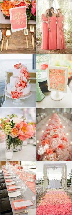 Coral Wedding Color Ideas You Don't Want to Overlook - Deko - Hochzeit Our Wedding Day, Spring Wedding, Dream Wedding, Wedding Beach, Trendy Wedding, Camp Wedding, 2017 Wedding, Perfect Wedding, Glamorous Wedding