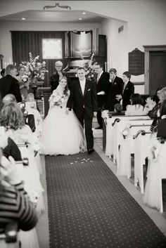 Wedding ceremony photo walking back down the aisle. So sweet to see reactions right after your married.