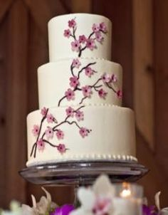 I don't know what it is about cherry blossom, but I have a bit of a weakness for it. I love the pink, the delicate flowers, and I love the . Cherry Blossom Bouquet, Cherry Blossom Wedding, Cherry Blossoms, Themed Wedding Cakes, Wedding Cake Toppers, Asian Inspired Wedding, Tree Cakes, Cake Pictures, Wedding Cakes