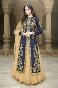 Banglori Silk Party Wear Lehenga Suit in Blue and Beige Colour