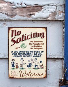 Hell Hounds NO SOLICITING SIGN Best Retro by MatthewFlansburg