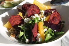 Farro is an Italian grain.  The beet chips were rather innovative.