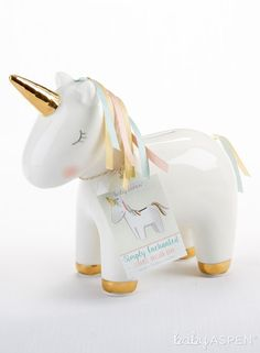 For a fun and functional gift that you could also use as a unique baby girl shower gift, choose Baby Aspen's Ceramic Unicorn Bank! Baby Shower Favors, Baby Shower Themes, Baby Shower Decorations, Baby Shower Gifts, Shower Ideas, Shower Party, Newborn Gifts, Baby Gifts, Girl Gifts