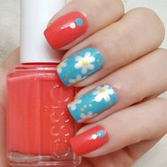 Give your fingertips a candy-like look with cute daisies and dots in bright, bold shades such as teal, coral and yellow. Click through for a how-to and more flower nail art ideas that are perfect for summer.