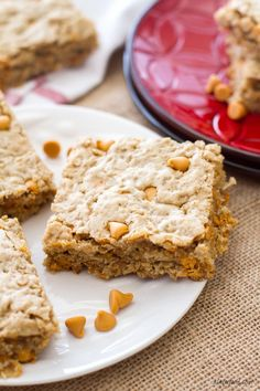 These oatmeal cookie bars are made with maple peanut butter and butterscotch chips to make an irresistible dessert!: