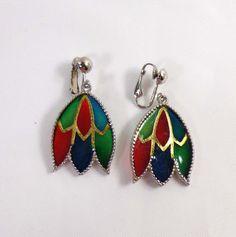 Celebrity Earrings Stained Glass PLIQUE a JOUR Silver Dangle Clip Back 838 #Celebrity #DropDangle