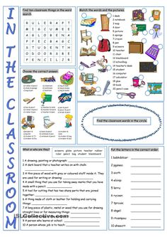 In the Classroom Vocabulary Exercises