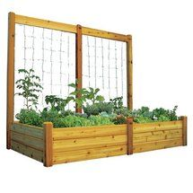 Love this idea: Raised Garden with Trellis. Maybe up against our fence?