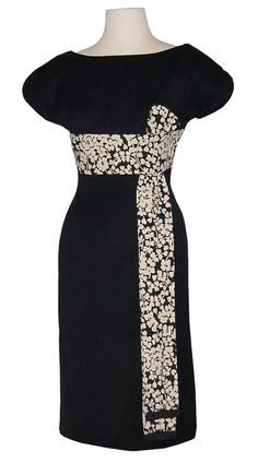 50s black fitted dress with wasit sash
