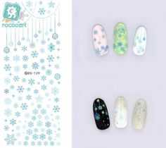 Rocooart DS129 Fashion Water Transfer Nails Art Sticker Blue Snowflake Little Element Nail Wrap Sticker Tip nail transfer #Affiliate