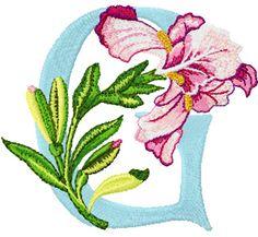 Iris letter G free machine embroidery design