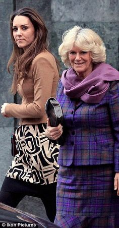 Catherine Middleton and Camilla, Duchess of Cornwall after lunch. This look is so cute!
