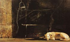 Andrew Wyeth 'Ides of March' 1974 egg tempera painting.   This depicts Andrew Wyeth's golden retriever Rattler sleeping in front of a fireplace in Wyeth's Mill, Chadds Ford, Pennsylvania