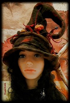 Neuer Hexenhut I Zauberin I Waldgeist I Fee I Elfe I Filzen in Querfurt I Winter Hats, Hair Styles, Painting, Art, Woodland Fairy, Wizards, Witches, Felting, Hair Plait Styles