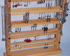 Double-sided stand - up to 240 pairs . Necklace Holder, Jewelry Holder, Jewelry Necklaces, Shelf, Unique Jewelry, Handmade Gifts, Earrings, Etsy, Kid Craft Gifts