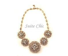 Antique  Gold Flower Bib Necklace,  Gold Statement Necklace, Vintage Statement Necklace-NK200KL01, $15.00