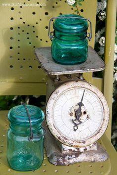 Old Decorative Scale ~ Love The Turquoise Mason Jars!