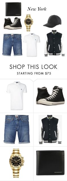 """""""Summer Day"""" by wolf-girl2005 ❤ liked on Polyvore featuring Polo Ralph Lauren, Converse, Tommy Hilfiger, Sophnet., Rolex, Burberry, Emporio Armani, men's fashion, menswear and beautiful"""