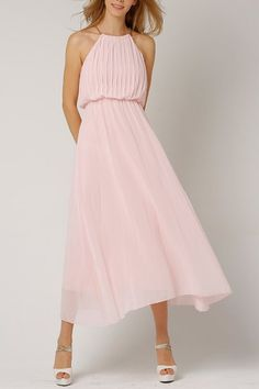 Cici.wang Pink Maxi Chiffon Pleated Swing Dress | Maxi Dresses at DEZZAL Click on picture to purchase!