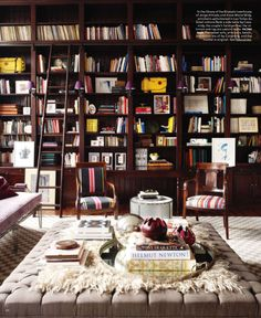Love the #ottoman! #bookshelves