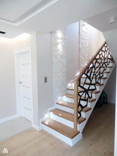 model home decor Home Stairs Design, Home Room Design, Home Design Plans, Home Interior Design, 3 Storey House Design, House Front Design, Modern House Design, House Staircase, Hallway Designs