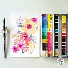 #calligrafikas #grafikaflora Paper: Canson 200gsm Paint: Schmincke Horadam watercolors Brush: Silver Brush Black Velvet round no 8