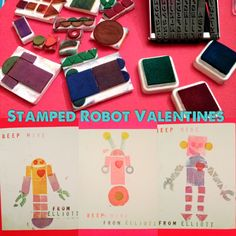 Make sweet robots from DIY foam stamps made from assembling precut shapes on a sheet of thick foam. The words were created with a Sculpey Letter stamp. Best. Craft. Purchase. Ever! #diy #valentine #robot craft