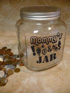 """Mommy Daddy Family SWEAR JAR Vinyl Sticker Decal 5""""h x 5""""w on Etsy, $7.99"""