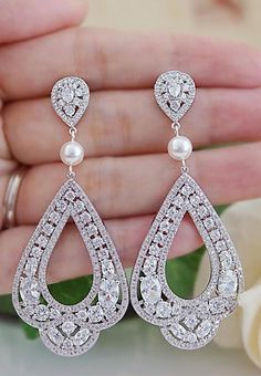 Victorian Style Vintage Style Luxury CZ Dangle Bridal Earrings from EarringsNation