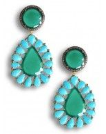 Gorgeous 14K Yellow Gold Post and Oxidized Silver Diamond, Green Onyx and Turquoise Teardrop Pierced Earrings