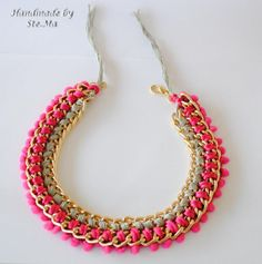 Handmade wrap necklace with chain and pom pom!!!