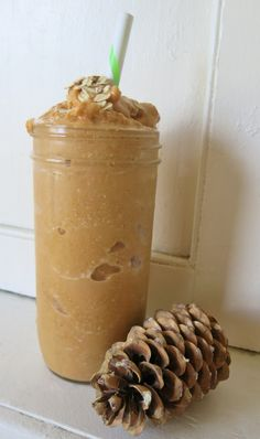 PUMPKIN OATMEAL COOKIE SMOOTHIE (E)  1/2 c. pumpkin puree - 1 c. unsweetened vanilla almond milk - 1/2 c. old fashioned oats - 1 T. Pyure sweetener - 1 1/2 t. maple extract - 1 t. cinnamon - 1/4 t. nutmeg - 1/8 t. ginger - 1 scoop vanilla whey protein - 1 1/2 trays of ice cubes  **Put all ingredients in the blender and blend to smooth consistency.  Top with sprinkling of oats and cinnamon or pumpkin pie spice.