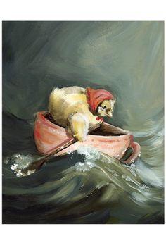 Tillys Journey- Nursery, chick, teacup, children- 11  x  17 print. $35.00, via Etsy.