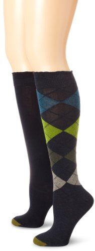 73831043f1d Gold Toe Women s Multi-Argyle Knee High  2 pack assortment of one argyle knee  high and one solid in durable cotton