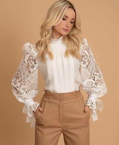 blouse combine with pants Modest Fashion, Hijab Fashion, Fashion Dresses, Queer Fashion, Look Fashion, Girl Fashion, Fashion Design, Urban Fashion, Fashion Styles
