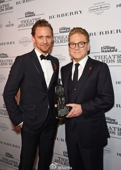 Tom HIddleston with Sir Kenneth Branagh, winner of the Lebedev Award, @ The 62nd London Evening Standard Theatre Awards at The Old Vic Theatre 13.11.2016 in London from http://tw.weibo.com/torilla/4041614630440566
