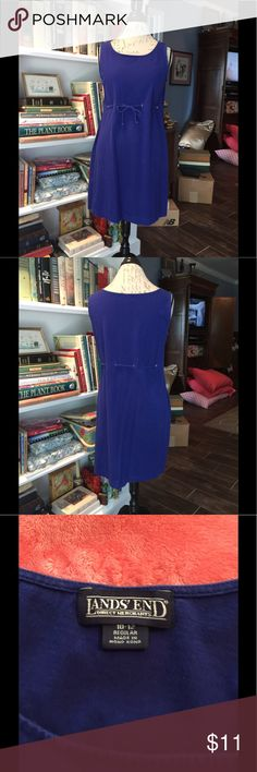 EUC sleeveless royal blue sun dress EUC royal blue sleeveless dress from Land's End. Tie adjustable waist. Perfect for spring summer fall, around the house comfortable pull on, beach bathing suit cover up. Will fit small medium maybe large. No return for size. Dresses Midi