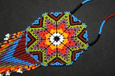 Medallion Necklace Beaded Tribal Necklace by BiuluArtisanBoutique