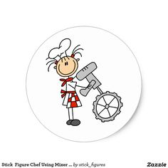 Shop Stick Figure Chef Using Mixer Stickers created by stick_figures. Stick Figure Drawing, Person Cartoon, Stickers Online, Round Stickers, Doodles Zentangles, People Illustration, Bible For Kids, Stick Figures, Cartoon Pics