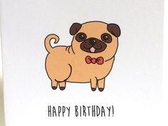 Pug Birthday Card, Birthday Card from the Dog, Birthday Card from the Pug, made…