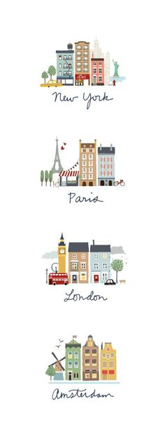 Leuk om uit te printen en in te lijsten op een kinderkamer! Wel alle steden apart met een passe-partout eromheen! Amsterdam Skyline, London Skyline, Amsterdam Art, Paris Illustration, Building Illustration, Travel Illustration, Digital Illustration, London Drawing, London Sketch