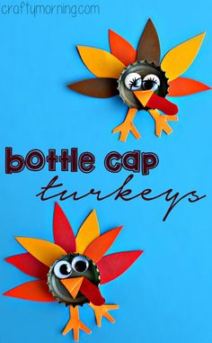Bottle Cap Turkey Craft #Thanksgiving craft for kids to make! #Fall | CraftyMorning.com